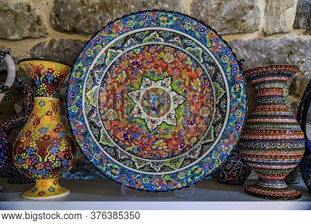 Traditional Montenegrin Hand Painted Decorative Plates With A Floral Pattern For Sale In At A Souven