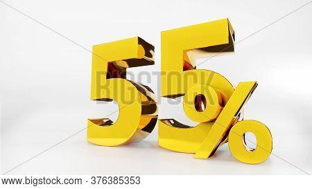 55% Golden Symbol , 3d Render Symbol  White Background