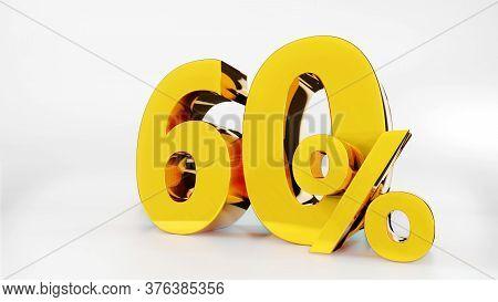 60% Golden Symbol , 3d Render Symbol  White Background