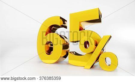 65% Golden Symbol , 3d Render Symbol  White Background