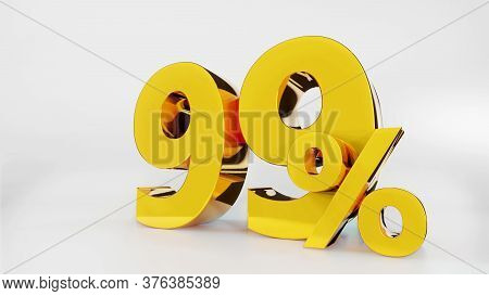 99% Golden Symbol , 3d Render 99% Golden Symbol , 3d Render
