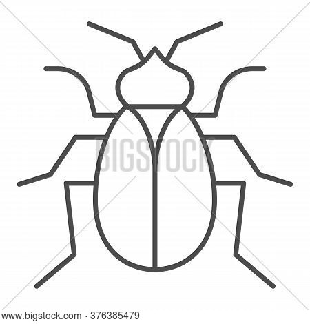 Flea Thin Line Icon, Pests Concept, Home Parasite Insect Sign On White Background, Flea Icon In Outl