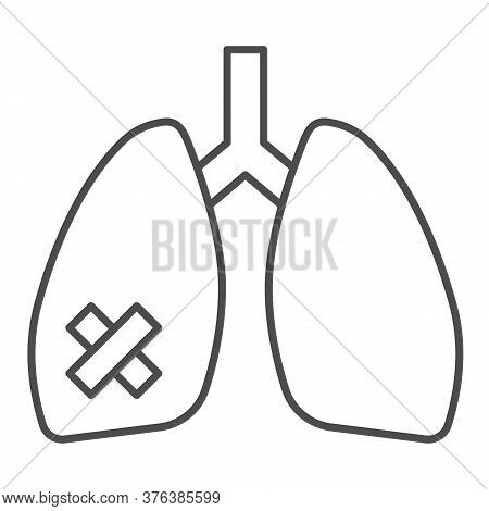 Diseased Lungs Organ Thin Line Icon, Smoking Concept, Smoker Lung Sign On White Background, Human Lu