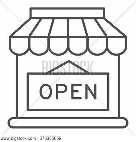 Open Shop Building Thin Line Icon, Market Concept, Store With Open Signboard On White Background, St
