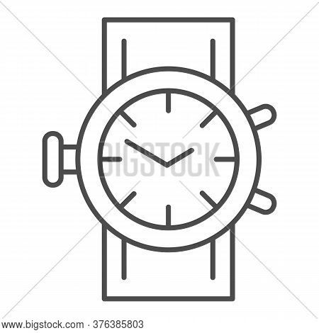 Mechanical Watch Thin Line Icon, Shopping Concept, Clock Sign On White Background, Wrist Watch Icon