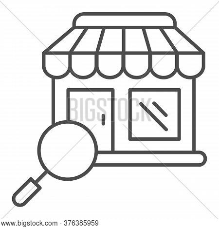 Shop Building And Magnifier Thin Line Icon, Shopping Concept, Store With Magnifying Glass Sign On Wh