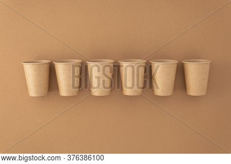 Disposable Paper Cups On Beige Background Zero Waste Plastic Free Concept