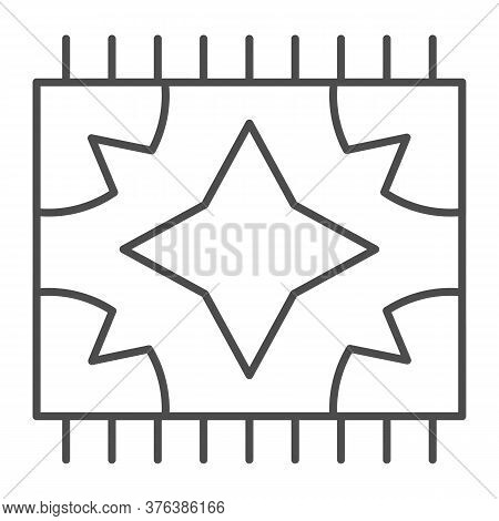 Picnic Blanket For Outdoor Leisure Thin Line Icon, Summer Picnic Concept, Plaid Sign On White Backgr