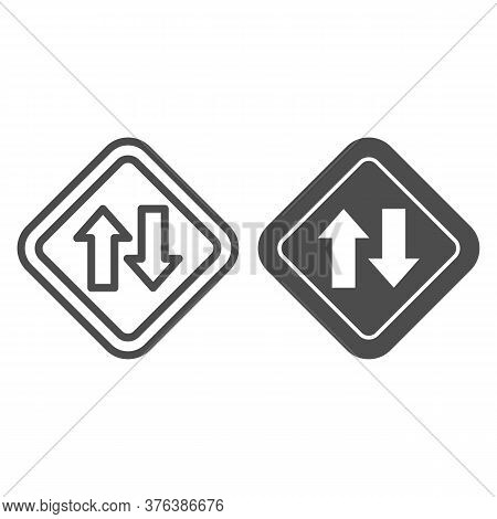 Two Way Traffic Line And Solid Icon, Navigation Concept, Traffic Sign On White Background, Two Way R