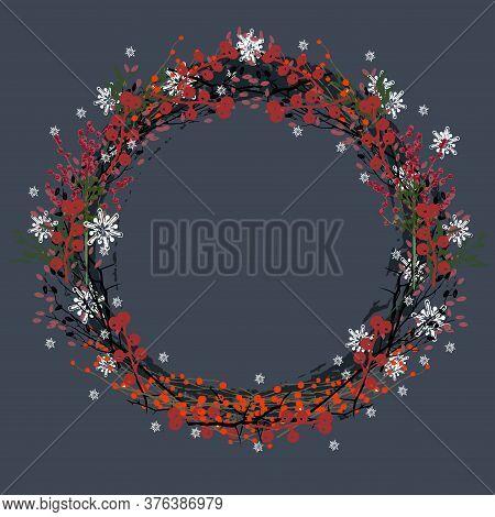 Christmas Wreath On  Dark Blue Background. Christmas Decor, Branches Of Spruce, Mistletoe, Snowflake