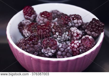 Frozen Food, Frozen Blackberries, Frozen Berries. Frozen Blackberry Close-up