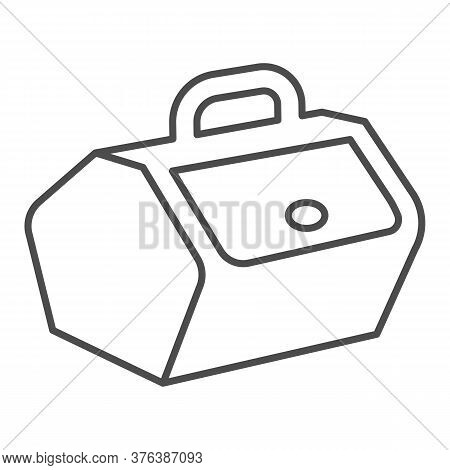 Picnic Basket With Lid And Handle Thin Line Icon, Picnic Concept, Food Container Sign On White Backg