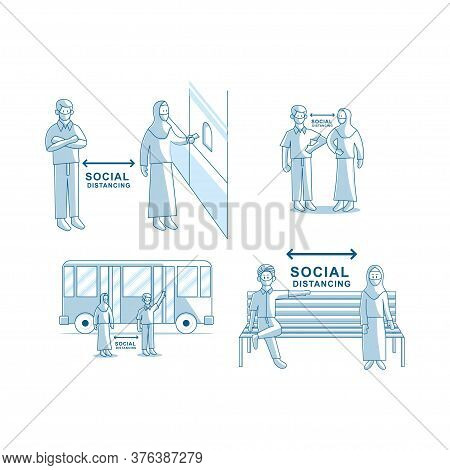 Social Distancing Concept. People Wearing Face Mask Vector