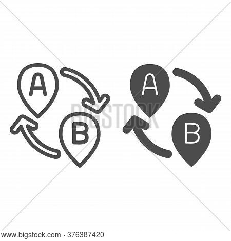 From Point A To Point B Line And Solid Icon, Navigation Concept, Two Pointers With Arrows Sign On Wh