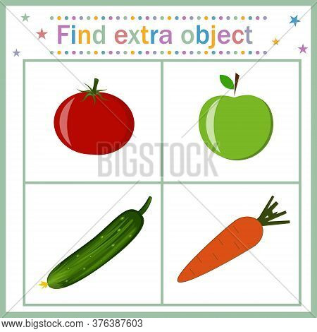Card For Children's Development, Find An Extra Object That Shows A Fruit Among Vegetables That Is Su