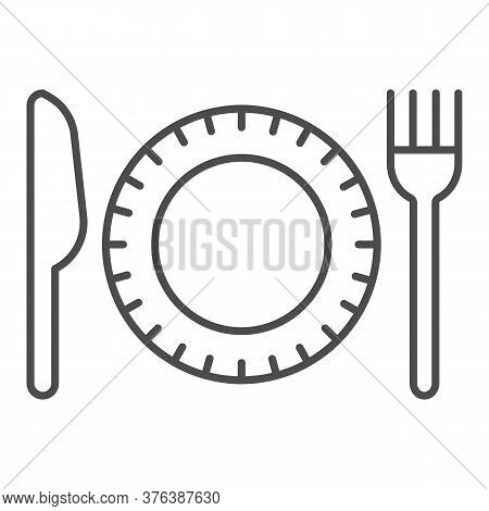 Plastic Disposable Tableware Thin Line Icon, Picnic Concept, Plate With Fork And Knife Sign On White