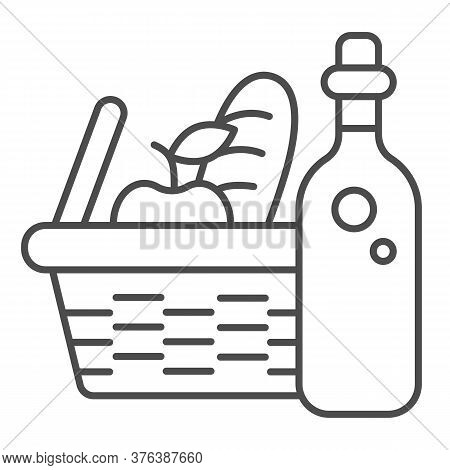 Bottle With Picnic Basket Thin Line Icon, Summer Time Concept, Wicker Picnic Basket Sign On White Ba