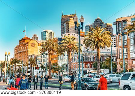 View Of Downtown From The Embarcadero Street,  San Francisco.