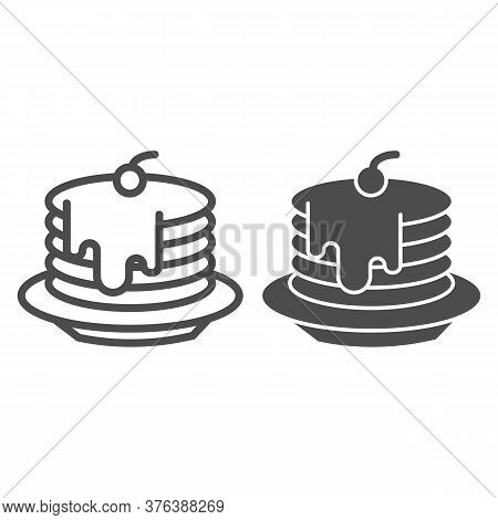 Pancakes With Honey And Cherries On Plate Line And Solid Icon, Bakery Concept, Pancakes With Syrup A