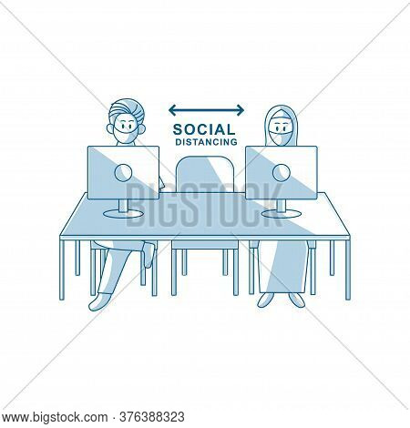People At Work Social Distancing Prevention Of Corona