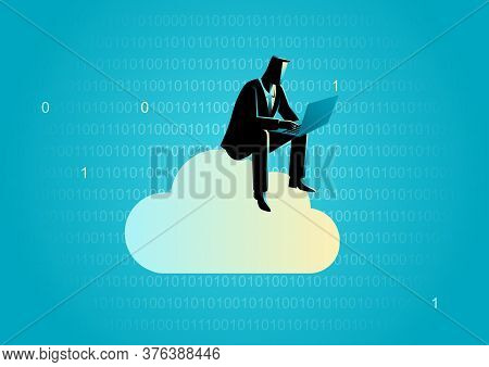 Business Concept Illustration Of A Businessman Sits On Cloud Working With Laptop Computer With Binar
