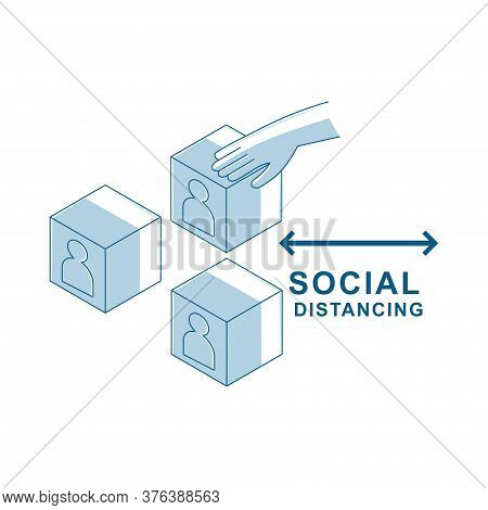 Move Crowds People Box Social Distancing Template Vector
