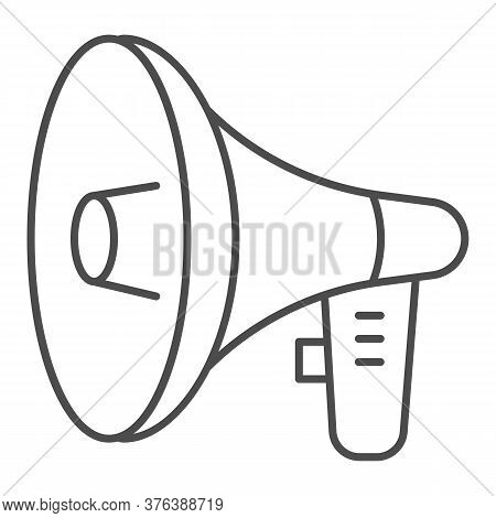 Loudspeaker Thin Line Icon, Audio Concept, Megaphone Sign On White Background, Loud Speaker Icon In