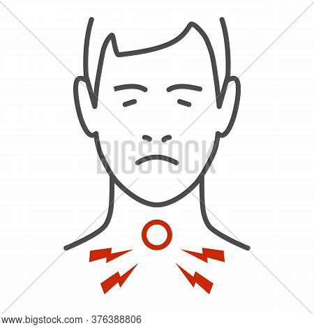 Sore Throat Thin Line Icon, Healthcare Concept, Man Feel Pain In Throat Sign On White Background, Pa