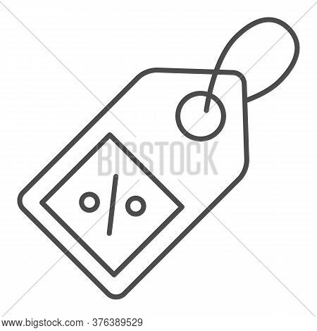 Shopping Tag Thin Line Icon, Market Concept, Special Offer Sign On White Background, Percent Discoun