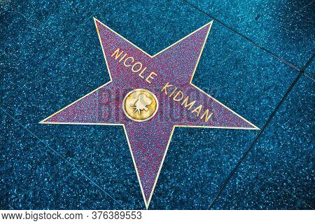 Hollywood Walk Of Fame In Hollywood Boulevard.