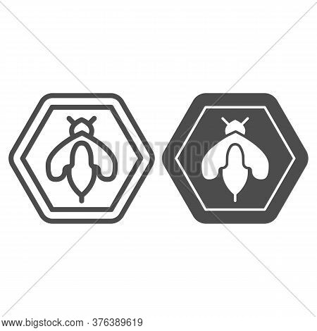 Bee In Honeycomb Line And Solid Icon, Honey Concept, Honey Bee Sign On White Background, Wasp Bee In