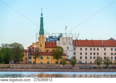 The Old Medieval Castle On The Banks Of The Daugava In The Capital Of Latvia, Riga City, The Officia