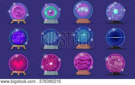 Various Magic Balls Flat Icon Set. Cartoon Energy Spheres, Fortune Paranormal Glasses, Magician Crys