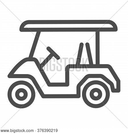 Golf Car Line Icon, Equipment And Sport Concept, Electric Golf Car Sign On White Background, Golf Ca