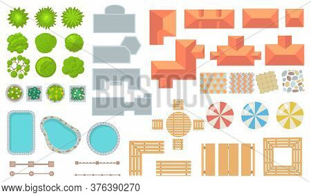 Top View Of Park And City Elements Flat Icon Set. Cartoon Fences, Trees, Houses, Tiles, Buildings Fo