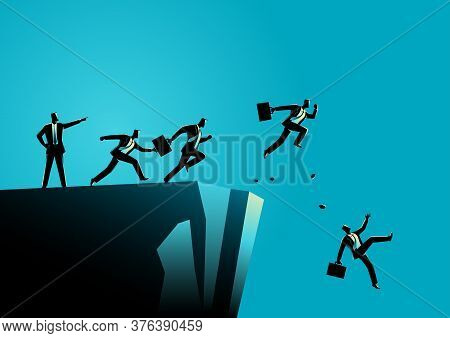 Business Concept Illustration Of A Leader Pointing To The Wrong Way To His Subordinates. Bad Leaders