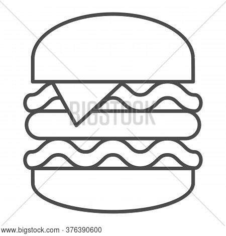 Big Burger Thin Line Icon, Street Food Concept, King Burger Sign On White Background, Big And Tasty