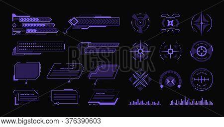 Various Modern Hud Flat Elements Set. Hologram Dashboard And Data Frameworks Vector Illustration Col
