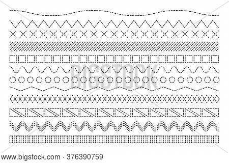 Various Stitch Lines Set. Abstract Black Sewing Seams, Borders, Stripe Fabric Threads Vector Illustr
