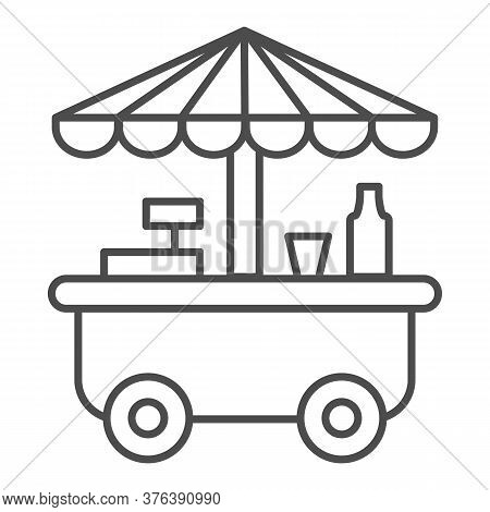 Street Stall On Wheels Thin Line Icon, Market Concept, Street Sale Cart Sign On White Background, Fa