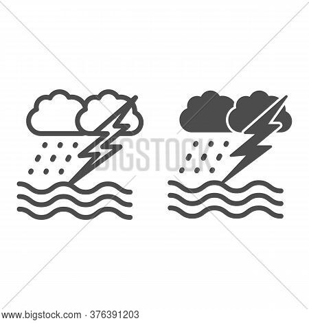 Ocean Windstorm With Rain And Lightning Line And Solid Icon, Nautical Concept, Ocean Storm Sign On W