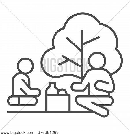 Father And Son On Picnic Thin Line Icon, Outdoors Concept, Family Picnic Sign On White Background, T