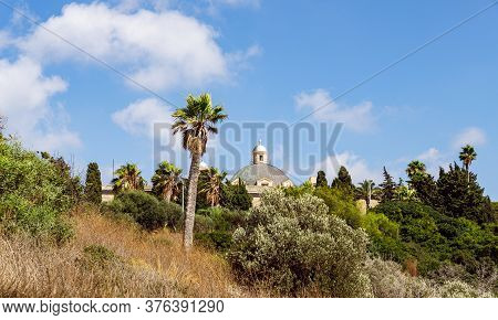 View From The Slope Of Mount Carmel To The  Stella Maris Monastery Which Is Located On Mount Carmel