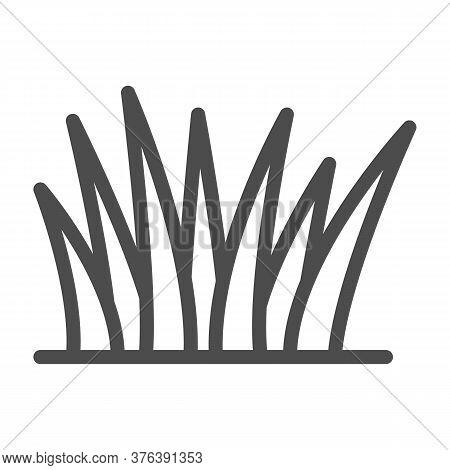Grass Line Icon, Nature Concept, Lawn Sign On White Background, Grass Leaves Icon In Outline Style F