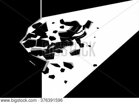 Black And White Illustration Of A Businessman Breaking The Wall. Business, Breakthrough, Success, Ch