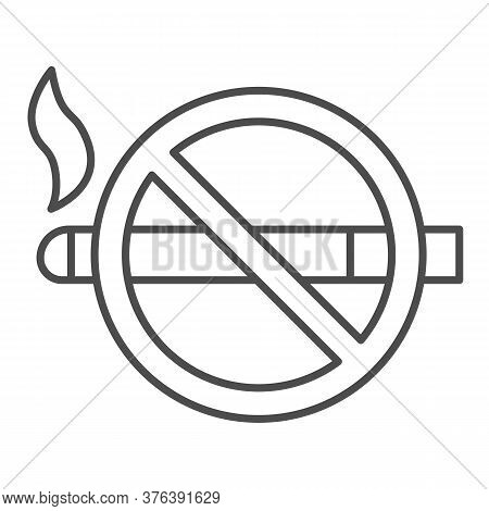 No Smoking Sign Thin Line Icon, Nicotine Concept, Smoke Prohibited Sign On White Background, Smoking