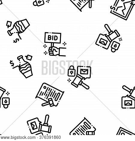 Auction Buying And Selling Goods Seamless Pattern Vector Thin Line. Illustrations