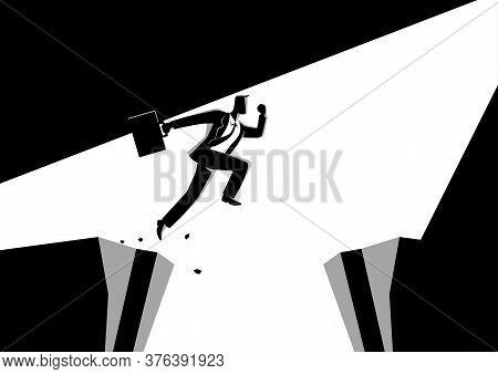 Black And White Illustration Of A Businessman Jumps Over The Ravine. Challenge, Obstacle, Optimism,