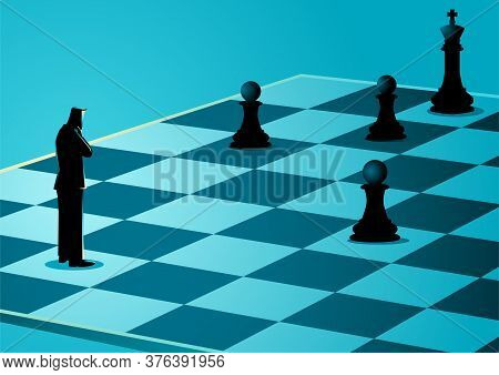 Business Concept Illustration Of A Businessman Standing While Thinking On Chessboard, Business Idiom