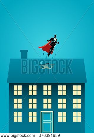 Business Concept Illustration Of A Superhero Businessman Flying Through The Roof, Business Idiom